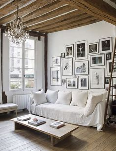 Beautiful parisian loft show how to do small space living in the bathroom, bedroom, living room. A gorgeous mix of old and new in a bright, stripped back space.