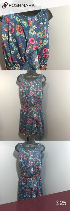 """🆕Gorgeous floral print dress Brand new. Gorgeous girly floral dress with brown belt. Approximate measurements: From armpit to bottom: 24"""". From armpit to armpit laying flag: 21"""" Boutique Dresses"""