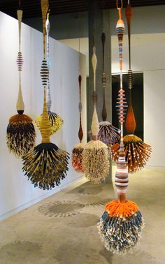 """Coachella Installation (2015) by American artist Joel S. Allen. Permanent installation of eight fiber sculptures from the continuing series """"Hooked on Svelte."""" Downtown LA offices of Goldenvoice/Coachella. via the artist's site"""