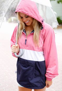 These darling new Jadelynn Brooke rain jackets are the simply the sweetest thing you'll see today! With the beautiful color combination of pink, white, and navy, it's so perfectly preppy! (And the navy and white polka dot lining is simply AMAZING!)