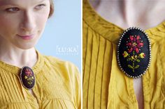 Handmade felt brooch with folk embroidery and beaded framing. More than one available if needed :)  measures 4,5x7cm 15€+pp info@lukamoda.com  photo: Juraj Molčák www.molcak.com postpro: LU:KA More Than One, Folk Embroidery, Felt Brooch, Handmade Felt, Cottage Chic, Fairy Tales, Vintage, Fashion, Moda