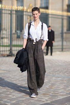 Street Style: Paris Fashion Week Spring 2014 - Saskia de Brauw in Yohji Yamamoto pants