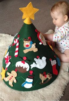 Button-up Christmas Tree; great idea to cut a circle of green felt and stitch zigzags around to hold shape. Use a sturdy paper cone as a base.Button ornaments help teach fine motor skills!