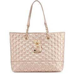 Betsey Johnson Be My Baby Quilted Tote Bag ($74) ❤ liked on Polyvore featuring bags, handbags, tote bags, rosegold, betsey johnson purses, zippered tote, tote purse, zip tote bag and woven tote