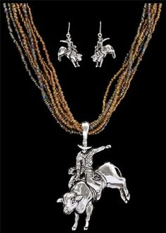 A collection of jewelry from horse lovers, cowgirls, rodeo gals and cowboys. Rodeo event charms, bracelets, necklace and earrings. Horse Jewelry, Western Jewelry, Westerns, Necklace Set, Gold Necklace, Rodeo Events, Bull Riders, Western Wear For Women, Cowgirl Style