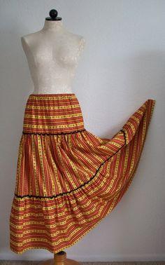 SOLD!!! Handmade Vintage 70s Boho Hippie Peasant Prairie Festival Skirt- Wear as a Dress, Too!,SOLD!!!