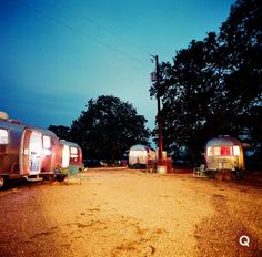 Airstreams in Hill Country at night