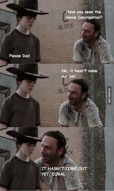 Ideas Funny Memes Jokes Walking Dead For 2019 Walking Dad Jokes, The Walking Dad, Walking Dead Funny, Walking Dead Coral, Twd Memes, Rick Memes, Meme Meme, Funny Jokes, Hilarious