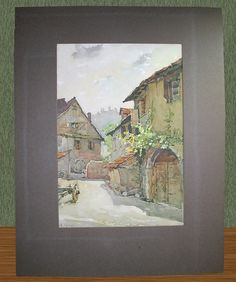 Framed Watercolor on Paper-Buildings Houses Street Scene Signed A. Mars