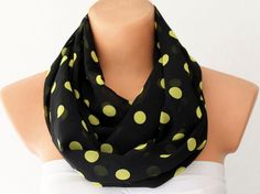XMAS in JULY 20% SALE Polka Dots Lemon Yellow Black Chiffon Loop Infinity Scarf Soft and Lightweight. $12.00, via Etsy.