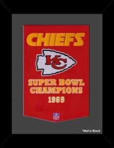 Framed Kansas City Chiefs Super Bowl Champions Dynasty banner.