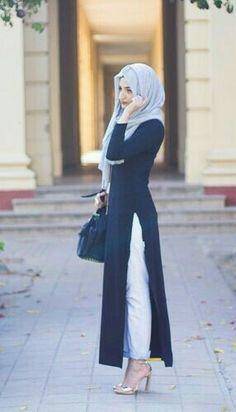 A street wear hijab and dress, a new take on Islamic fashion. Islamic Fashion, Muslim Fashion, Modest Fashion, Fashion Outfits, Fashion 2016, Modest Wear, Modest Dresses, Modest Outfits, Hijab Dress