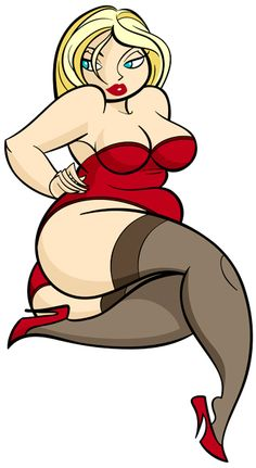 Plus size pin up cartoon