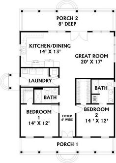 Cottage Style House Plan - 2 Beds 2 Baths 1292 Sq/Ft Plan Floor Plans - 1 Story Country Home with 2 Bedrooms, 2 Bathrooms and total Square Feet Square Floor Plans, Square House Plans, Guest House Plans, House Plans One Story, Barn House Plans, Craftsman House Plans, New House Plans, Cabin Plans, 2 Bedroom House Plans