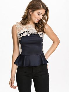 Lace Peplum Top - Ax Paris - Navy/Nude - Tops - Clothing - Women - Nelly.com Uk