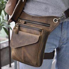 Men's Geunine Leather Oil wax Drop Leg Bag Fanny Waist Belt Hip Bum Travel Motorcycle Riding Cross Body Messenger Shoulder Pack