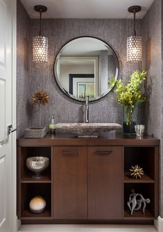 Powder Room / Half Bath.  Love the light fixtures and their placement.