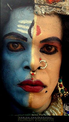 "This face is called ""Ardha-nareeswara"" Half man-half woman God. Union of the divine masculine and feminine."