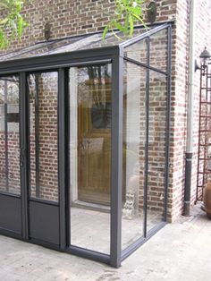 Windscreen canopy entrance steel / glass anthracite clinker / red handle - New Ideas Extension Veranda, Porch Extension, Glass Extension, Front Door Porch, House Front, Glass Porch, Glass Door, Sas Entree, Porch Canopy