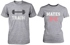 Cute Couple Workout T-Shirts – Train Mates Matching Grey Shirts for Co