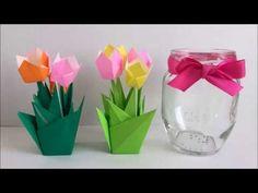 【折り紙】簡単!ミニチューリップ畑(ジャムの瓶と同じぐらいの大きさ)Origami Tulip - YouTube