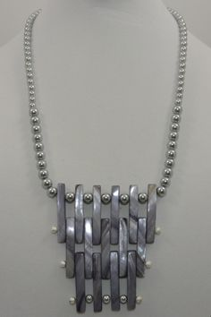 114 Gray Magatron Necklace 24' with Earrings Set.  $35.00.Pin it Coupon code (DDB6230) 10% discount off purchase. #CustomJewelry #Jewelry #Necklaces #CustomJewelryMatching #CustomJewelry #Jewelry #Necklaces #CustomJewelryMatching #WomenFashion #HandMadeCustomJewelry
