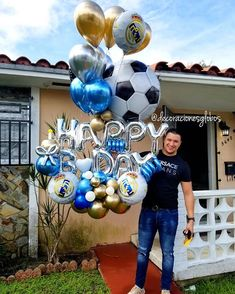Santos o Juventus Happy Birthday Decor, Diy Birthday Gifts For Him, Birthday Decorations For Men, Mens Valentines Gifts, Happy Birthday Balloons, Balloon Decorations, Boy Birthday, Ballon Arch, Father's Day Celebration