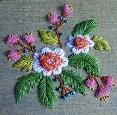 вышивка Cutwork Embroidery, Floral Embroidery Patterns, Hand Embroidery Stitches, Embroidery Hoop Art, Hand Embroidery Designs, Custom Embroidery, Embroidery Techniques, Embroidered Flowers, Brazilian Embroidery
