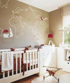 Chambre d'enfant - carte du monde au mur - Mille mètres carrés