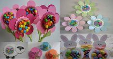 detalles dulces con figuras de papel y recipientes plásticos