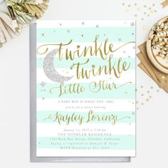 Twinkle Twinkle Little Star Baby Shower, Sprinkle Invitation, Boy or Girl: Mint, Gold & Silver Glitter Party Invite, Birthday Party - Star