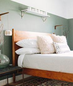 serene, calming bedroom with modern elements
