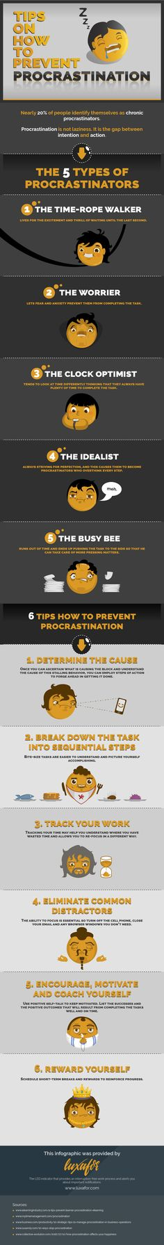 Tips On How To Prevent Procrastination #Infographic #HowTo #TimeMangement