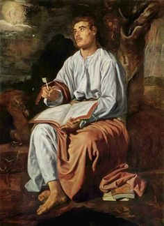 Johannes op Patmos, Diego Velázquez, 1619–1620. Johannes werd verbannen naar Patmos, een van de Cycladen, waar hij na het zien van visioenen de Openbaring schreef. Johannes ziet hier het visioen van de vrouw in h12 beschrijft. Zij stond op het punt een kind te baren dat belaagd zou worden door een draak - een gelijkenis met Jezus of met de vervolgde christenen.