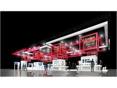 NTTドコモブースのイメージ。展示会場の中で最大規模を誇るスペースで、最新の製品やユニークな未来の技術を紹介