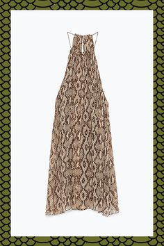 The GIF Guide To Fall's Best Prints #refinery29  http://www.refinery29.com/best-fall-prints-2015#slide-9  Slither into this halter-neck, open-back snakeskin-printed number. The loose fit makes it a solid end-of-summer piece, as well as a great layering item for fall. ...