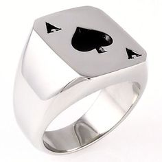Amarillo: Mens Biker Stainless Steel Ace of Spades Lucky Poker Ring - Trustmark Jewelers