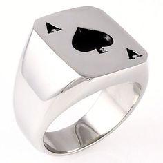 Amarillo: Mens Biker Stainless Steel Ace of Spades Lucky Poker Ring - Trustmark Jewelers