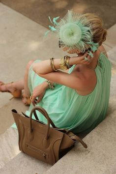 mint dress and hair decoration