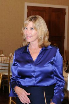 Very Nice Royal Blue Satin Blouse