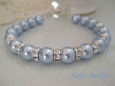 Annabelle- Something Blue Pearl bracelet. Bridesmaids Light Blue Pearl Bracelet.Vintage style bracelet. Classic Pearl bracelet