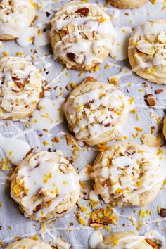 These Almond Cookies are melt-in-your-mouth delicious and super easy to make! The cookies have a chewy texture with crunchy bits of almond. They are topped with an almond glaze and a touch of orange zest that will leave you wanting more! Easy No Bake Desserts, Cookie Desserts, Cookie Recipes, Dessert Recipes, Party Recipes, Fun Desserts, Sweet Cookies, Yummy Cookies, Sweet Treats