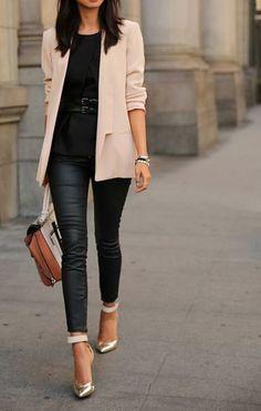 Como+combinar+pantalones+de+piel+|Petite+Girl