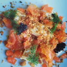 Simon Letzer's smoked salmon, dashi panna cotta, dill and caviar