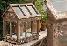 Rustic Glass House With Hinged Top - From Antiquefarmhouse.com - http://www.antiquefarmhouse.com/current-sale-events/accent30/glass-house.html