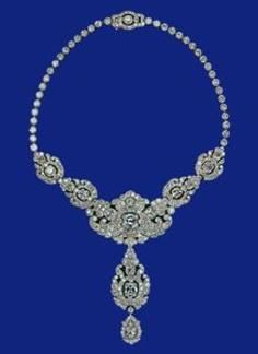 A wedding present from the Nizam of Hyderabad to Princess Elizabeth in 1947, the necklace was remodelled from an earlier Cartier piece.