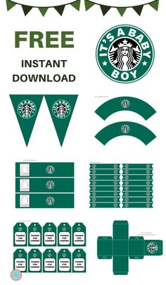 FREE It's a Boy Starbucks Baby Shower Printable - Magical Printable Starbucks Crafts, Starbucks Logo, Starbucks Birthday Party, Free Baby Shower Printables, Party Printables, Starbucks Water Bottle, Baby Shower Cupcake Toppers, Silvester Party, Diy Arts And Crafts