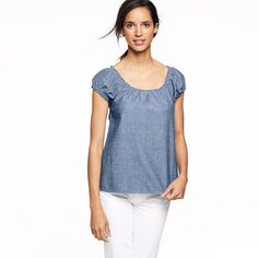 I hate chambray and yet I'm oddly attracted to this #capsleeve #chambray #top . I can't explain it.