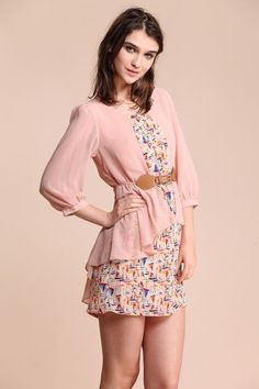 Pink Sailboat Print Half Sleeve Belt Dress