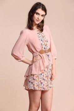 Pink Sailboat Print Half Sleeve Belt Dress - Sheinside.com #sheinside